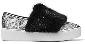 Michael Kors Women's Lorelai Mink Fur& Metallic Skate Sneakers