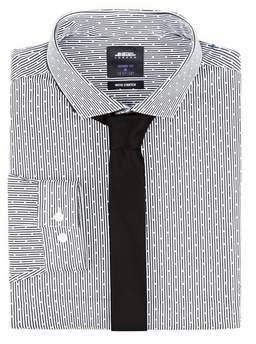 Burton Mens Black Skinny Fit Stretch Shirt and Tie Pack