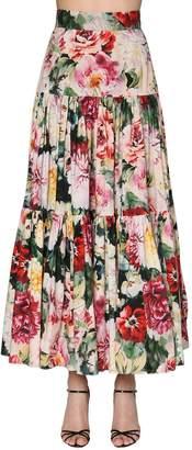 Dolce & Gabbana Floral Print Ruffled Poplin Long Skirt