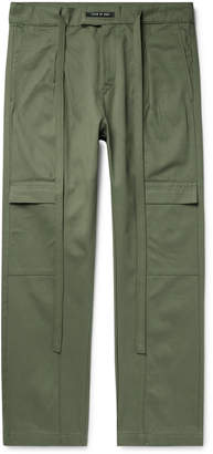 Fear Of God Belted Pleated Cotton-Twill Cargo Trousers - Men - Green