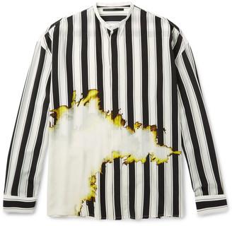 Haider Ackermann Grandad-Collar Double-Cuff Printed Silk Shirt $1,765 thestylecure.com