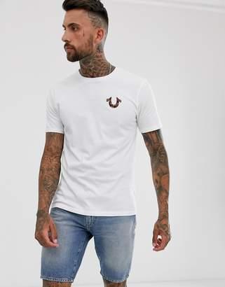 True Religion horseshoe camo logo crew neck t-shirt in white