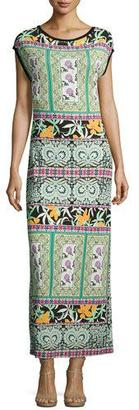Etro Printed Cap-Sleeve Jersey Gown, Black/Green/White $965 thestylecure.com