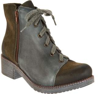 Naot Footwear Leather and Suede Lace-up Ankle Boots - Groovy