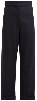 Jacquemus Revers Wide Leg Wool Trousers - Womens - Navy
