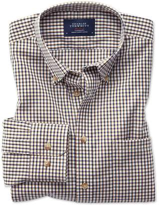 Charles Tyrwhitt Slim Fit Button-Down Non-Iron Poplin Gold and Blue Gingham Cotton Casual Shirt Single Cuff Size Medium