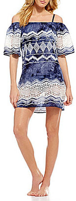 La Blanca Denim Lace Off-The-Shoulder Dress Cover-Up $99 thestylecure.com
