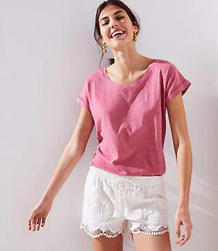 LOFT Scalloped Lace Tassel Drawstring Shorts