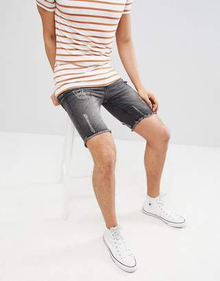 Brave Soul Skinny Stretch frayed Hem Paint Spot denim Shorts