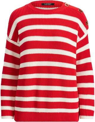 Lauren Ralph Lauren Ralph Lauren Striped Toggle Cotton Sweater