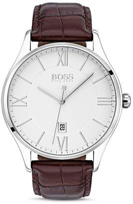 HUGO BOSS BOSS HUGO by Governor Brown Croc-Embossed Leather Watch, 44mm