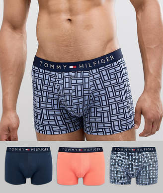 Tommy Hilfiger 3 pack trunks navy waistband in navy/coral/monogram print