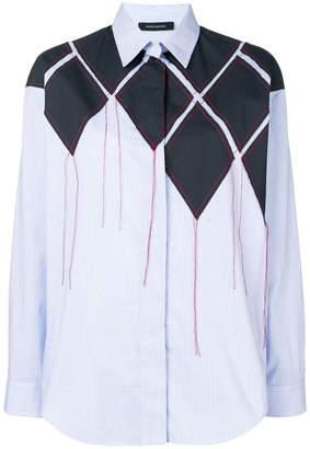 Cédric Charlier patchwork striped shirt