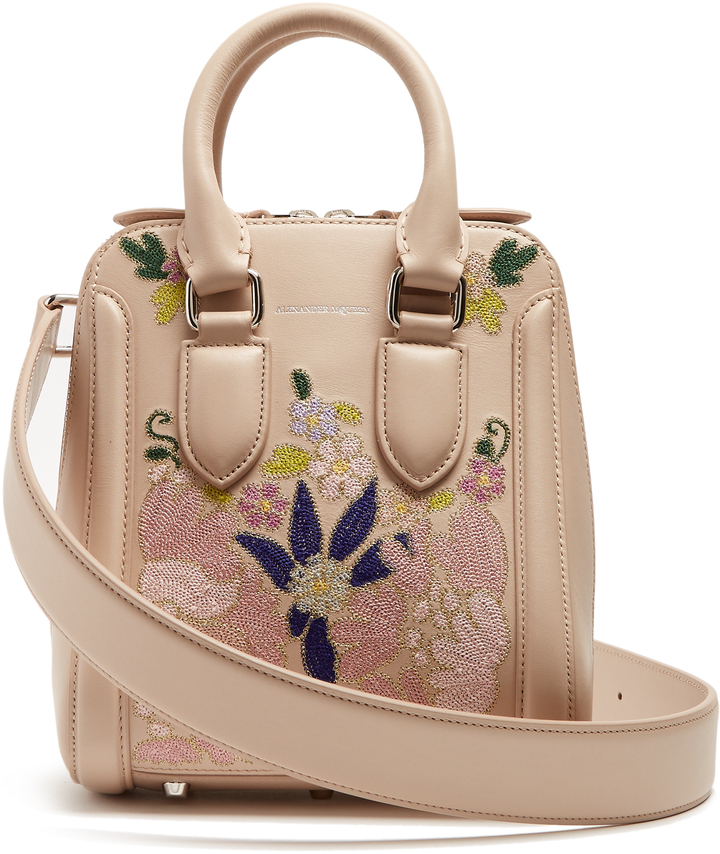 Alexander McQueen ALEXANDER MCQUEEN Heroine embroidered small leather cross-body bag