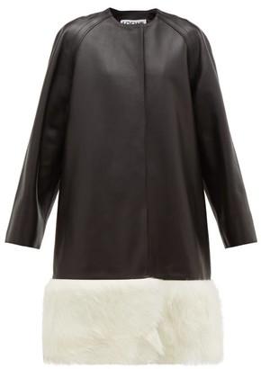 Loewe Shearling Trimmed Collarless Leather Coat - Womens - Black White