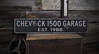 Calvin Klein The Lizton Sign Shop Wooden 1988 88 CHEVY 1500 GARAGE Established Date - Rustic Sign - 5.5 x 24 Inches