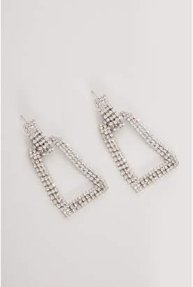 Quiz Silver Diamante Rectangle Earrings