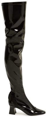 Fabrizio Viti - Over The Knee Patent Leather Boots - Womens - Black