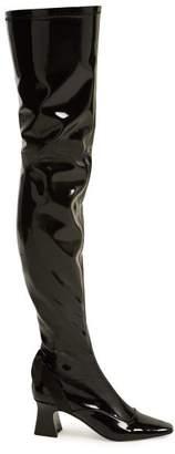 Fabrizio Viti - Over The Knee Patent Leather Boots - Womens - Black