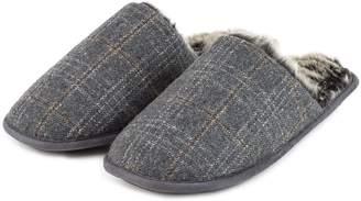 148b2cbdb846 totes Mens Fur Lined Check Mule Slippers