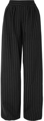 Gareth Pugh Pinstriped Wool-blend Wide-leg Pants - Black