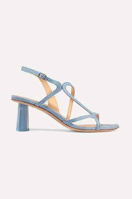 BY FAR Brigette Snake-effect Leather Slingback Sandals - Light blue