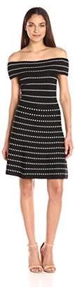 Rachel Roy Women's Dot Stripe Off The Shoulder Sweater Dress