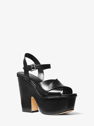 Michael Kors Divia Snake-Embossed Leather Platform Sandal