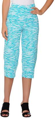 Susan Graver Printed Stretch Woven Zip Front Capri Pants