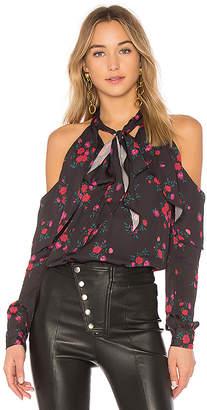 L'Academie The Tie Neck Off Shoulder Blouse