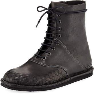 Bottega Veneta San Crispino Intrecciato Lace-Up Boot, Dark Gray