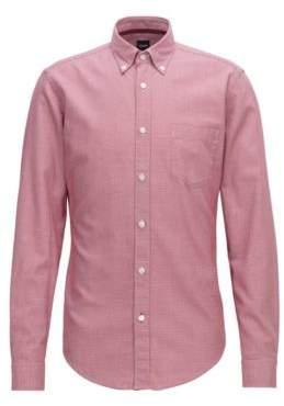 BOSS Hugo Slim-fit shirt in micro-patterned dobby cotton M Dark Red