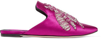 Sanayi 313 - Ragno Embroidered Satin Slippers - Magenta