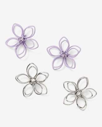 Addition Elle Set of Two Pairs of Wire Flower Earrings