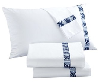 LUX-BED 4-Piece Pearce Garden NEW!! LUX-BED COLLECTIONS!! 100% Cotton 300 Thread Count Aztec Kilim Embroidered Tribal Inspired stitch Technique Full Sheet Set Navy