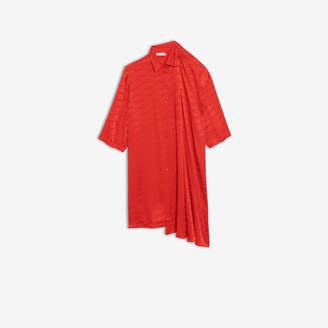 Balenciaga Monogram Shifted Shirt Dress in red jacquard silk