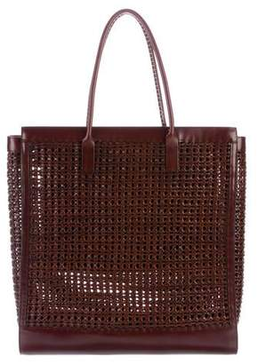 Burberry Large Woven Leather Tote