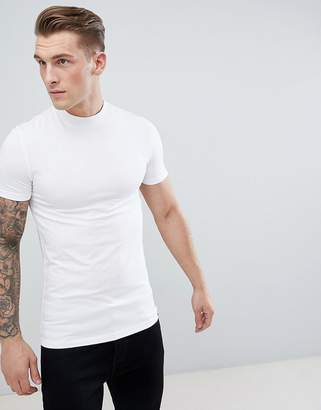 Asos Design DESIGN muscle fit t-shirt with turtle neck in white