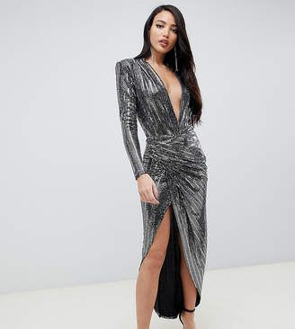 John Zack Tall contrast wrap front sequin maxi dress in silver