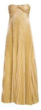 Alexis Joya Strapless Sweetheart Lame Pleated A-Line Dress