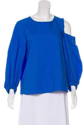 Tibi Long Sleeve Scoop Neck Blouse