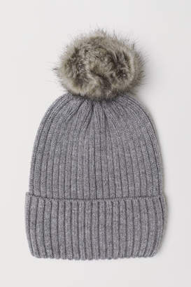 H&M Ribbed Hat - Gray