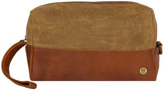 Mahi Leather Canvas & Leather Classic Wash Bag In Forest Green & Brown