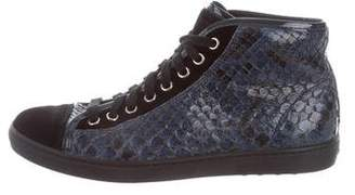 Tod's Snakeskin High-Top Sneakers