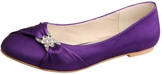 Wedopus MW757 Women's Pleated Closed Toe Ballet Flat Satin Wedding Shoes for Bride