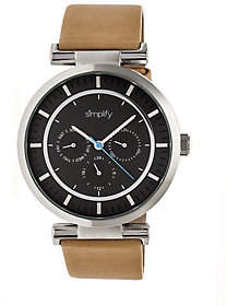 Simplify Tan Leather Strap Watch with Black Dia l