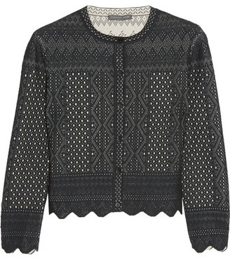 Alexander McQueen - Cropped Pointelle-knit Cardigan - Black $1,435 thestylecure.com