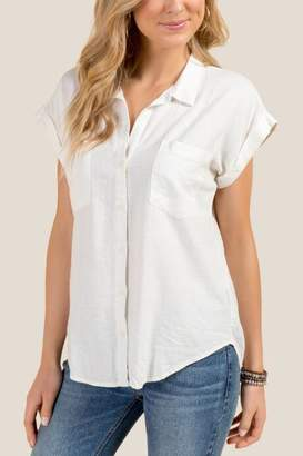 francesca's Sherry Short Sleeve Envelope Back Button Down - White
