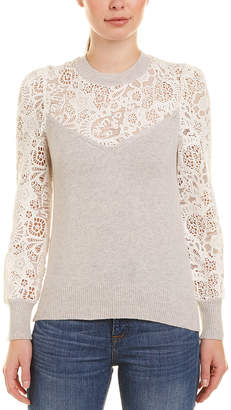 Rebecca Taylor Mixed Lace Wool-Blend Top