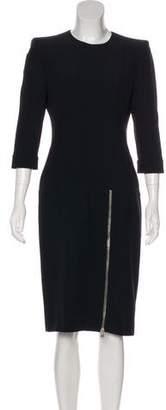 Alexander McQueen Zip-Accented Midi Dress